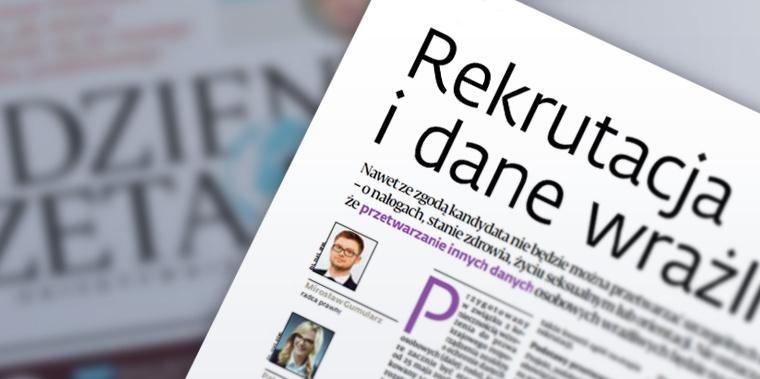 """""""Rekrutacja i dane wrażliwe""""- Dziennik Gazeta Prawna"""