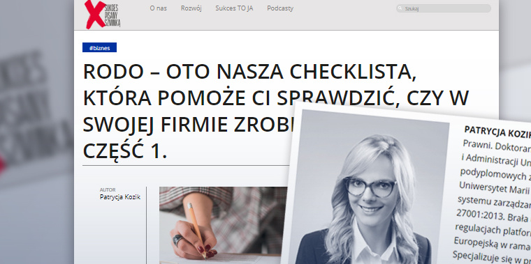 Checklista, która pomoże ci sprawdzić, czy w swojej firmie prawidłowo wdrożyłaś RODO (tekst mec. P. Kozik)
