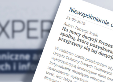 Pierwsza decyzja Prezesa UODO nakładająca karę – komentarz GKK